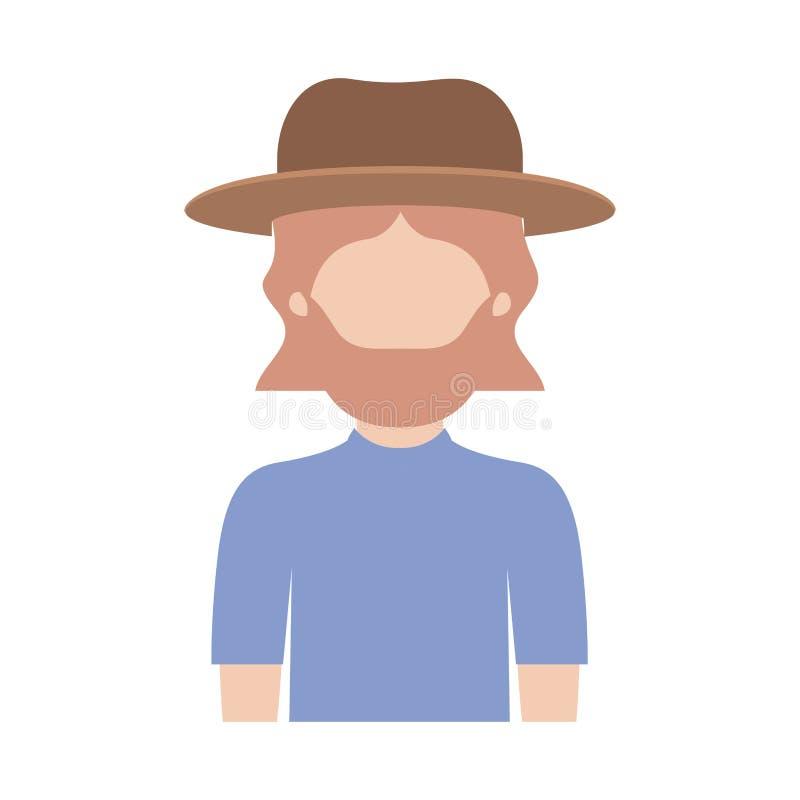 Mezzo ente dell'uomo anonimo con il cappello e la maglietta con i capelli di mezza lunghezza e barba sulla siluetta variopinta illustrazione di stock