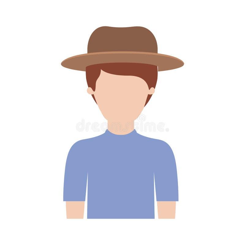 Mezzo ente dell'uomo anonimo con il cappello e la maglietta con i capelli di scarsità in siluetta variopinta illustrazione vettoriale