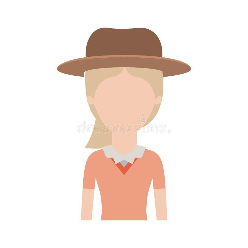 Mezzo ente della donna anonima con i capelli del cappello e della blusa e della coda di cavallo in siluetta variopinta illustrazione vettoriale