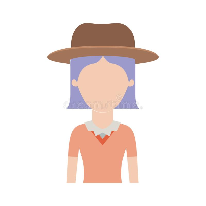 Mezzo ente della donna anonima con il cappello e la blusa con brevi capelli diritti in siluetta variopinta illustrazione di stock