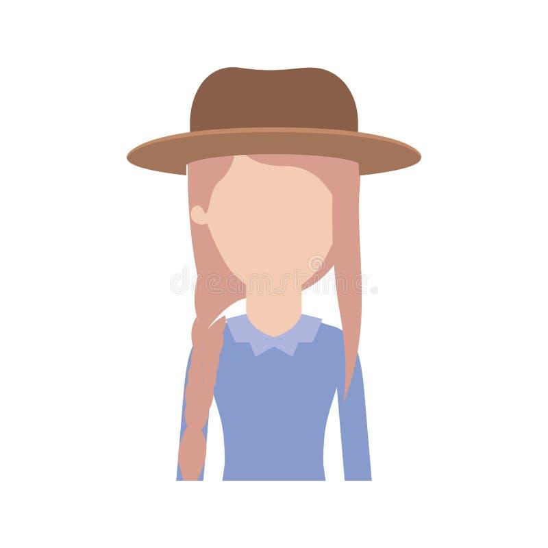 Mezzo ente della donna anonima con la manica lunga della blusa e del cappello con l'acconciatura della frangia e della treccia in illustrazione di stock