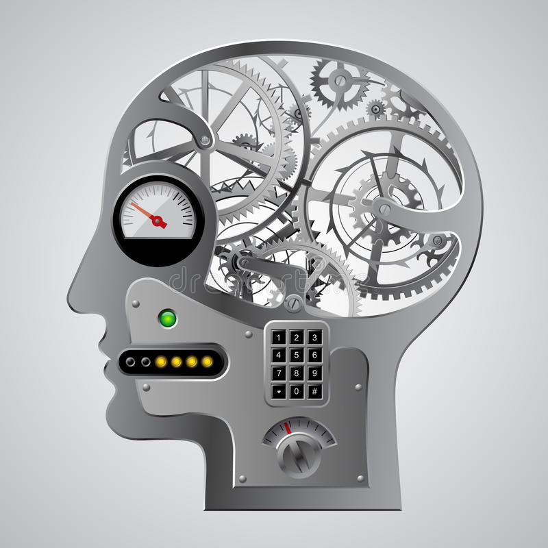 Mezzo fronte capo metallico meccanico umano con gli ingranaggi e il ot del cervello royalty illustrazione gratis