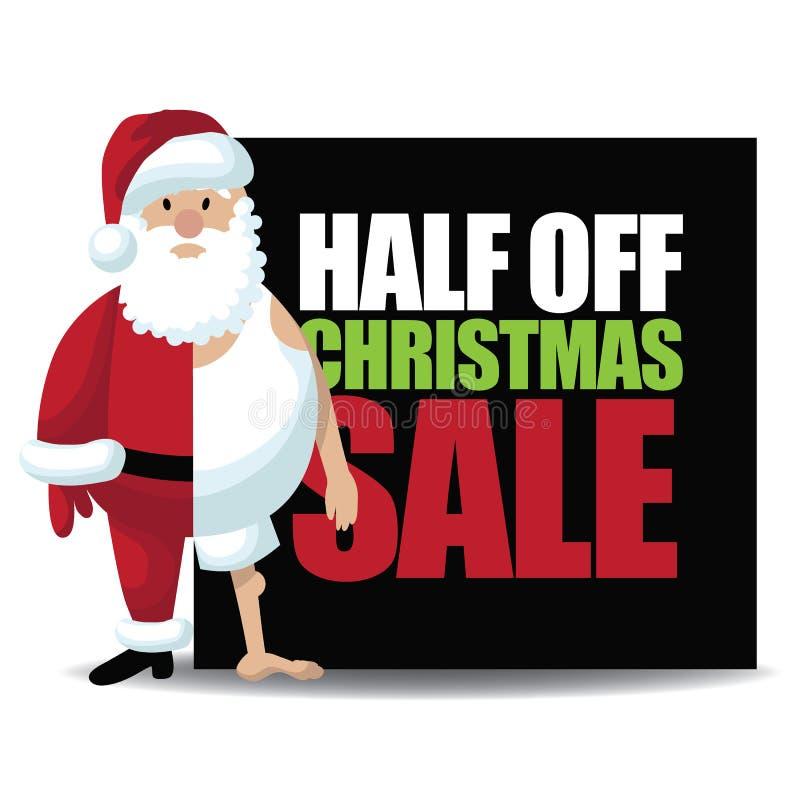 Mezzo fuori dalla vendita di Natale con la metà ha vestito Santa illustrazione di stock