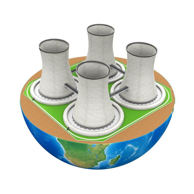 Mezzo globo con la centrale atomica royalty illustrazione gratis