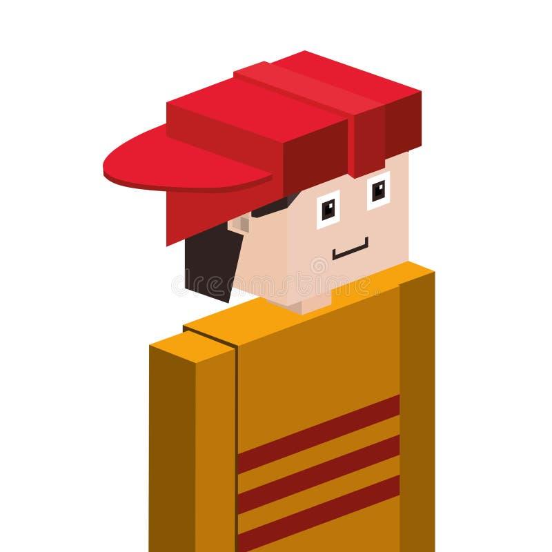 mezzo pompiere del corpo di lego con il casco illustrazione di stock