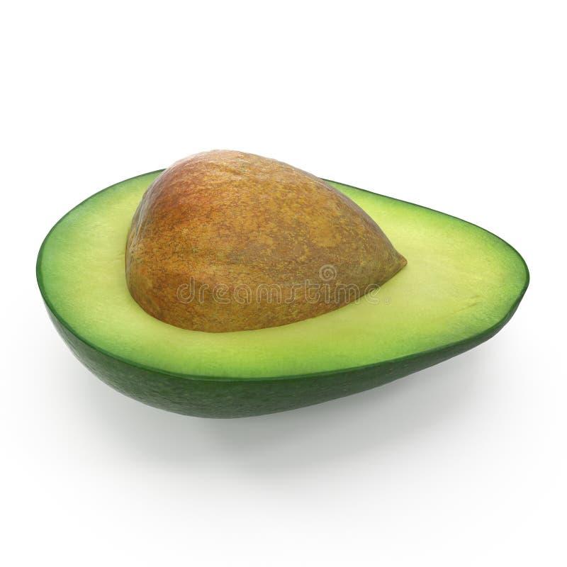 Mezzo seme di Whith dell'avocado isolato sull'illustrazione bianca del fondo 3D fotografia stock libera da diritti