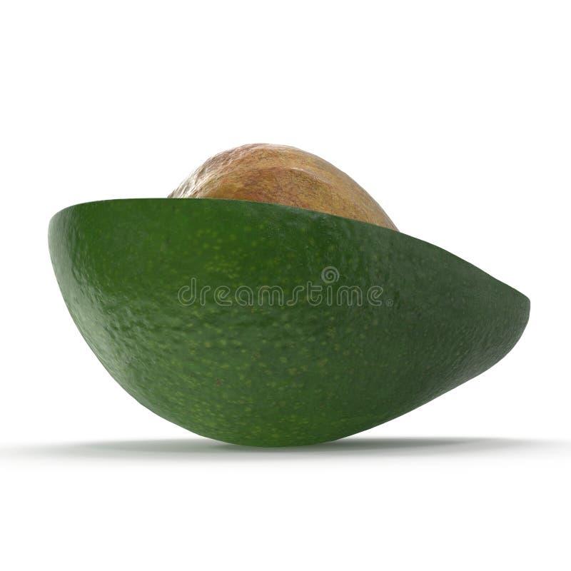 Mezzo seme di Whith dell'avocado isolato sull'illustrazione bianca del fondo 3D immagini stock libere da diritti