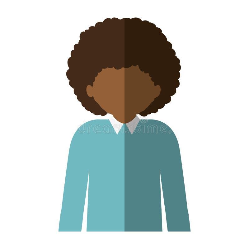 Mezzo uomo di afro del corpo con capelli ricci ed ombra media illustrazione di stock