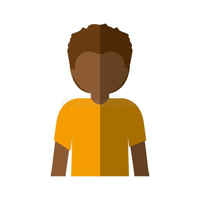 Mezzo uomo di afro del corpo con i capelli di scarsità e l'ombra media illustrazione di stock