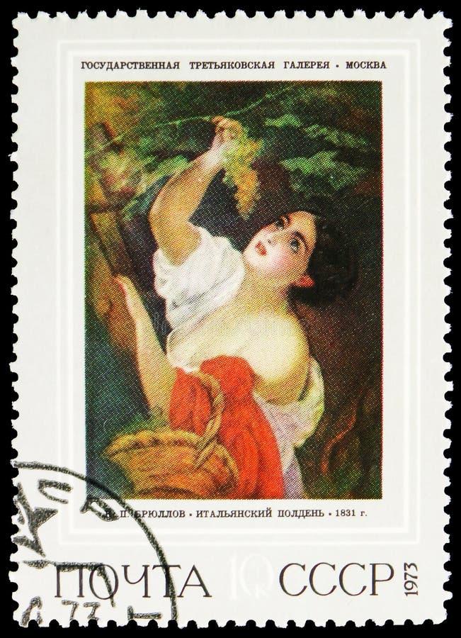 Mezzogiorno italiano, 1831, K P Brjullov 1799-1852, serie russo delle pitture, circa 1973 fotografia stock libera da diritti