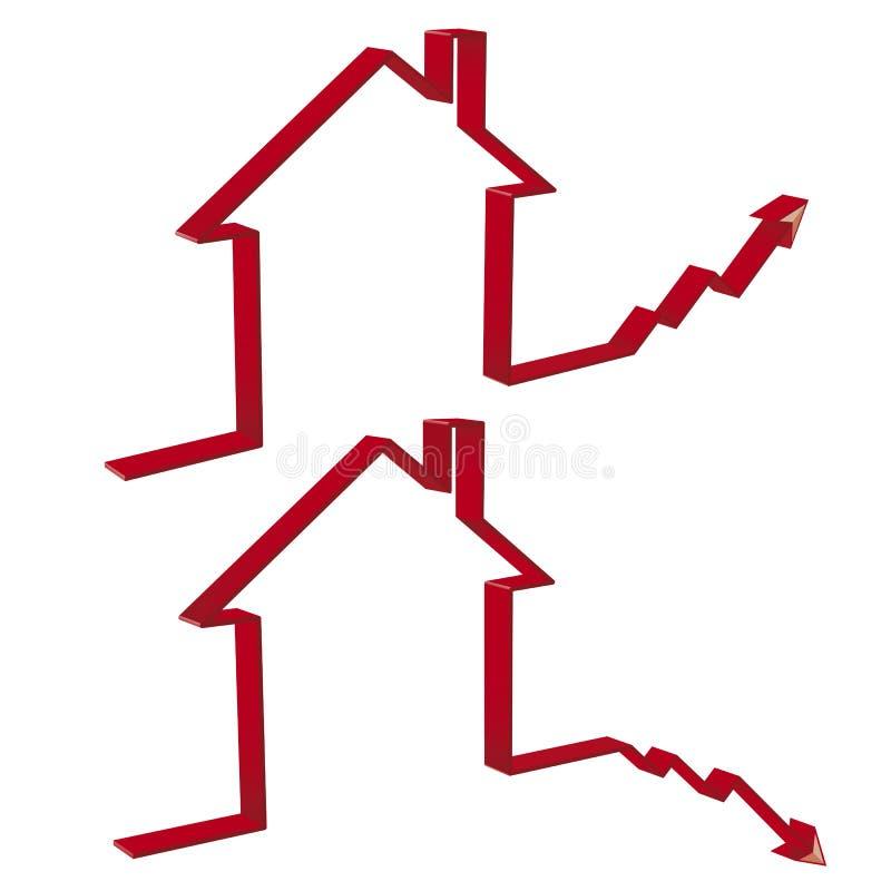 Mfall das casas e ascensão de preços de carcaça em 3D ilustração do vetor