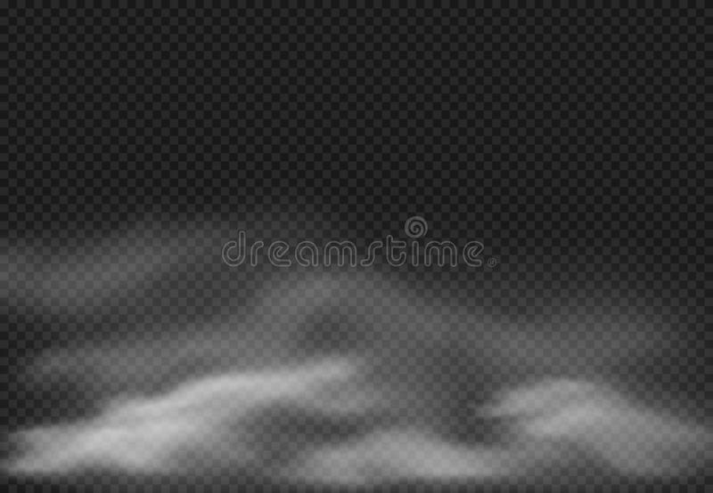 Mgła skutek Dymne chmury, chmurna mgła i realistyczna dymiąca chmura odizolowywać na przejrzystej tło wektoru ilustracji, royalty ilustracja