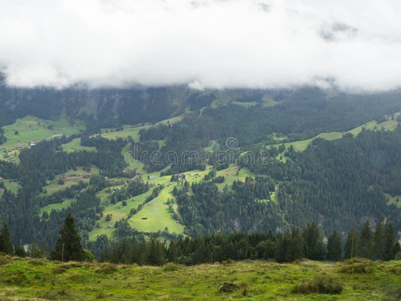 Mgła i góry w Interlaken, Szwajcaria zdjęcie stock