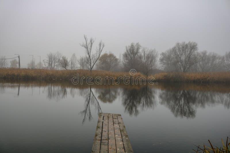 Mgła i jezioro zdjęcia royalty free