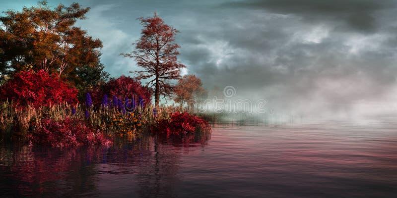 Mgła na jeziorze ilustracji