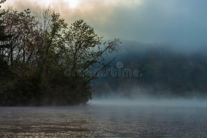 Mgła nad jeziorem w pogodnym kolorowym ranku zdjęcia stock