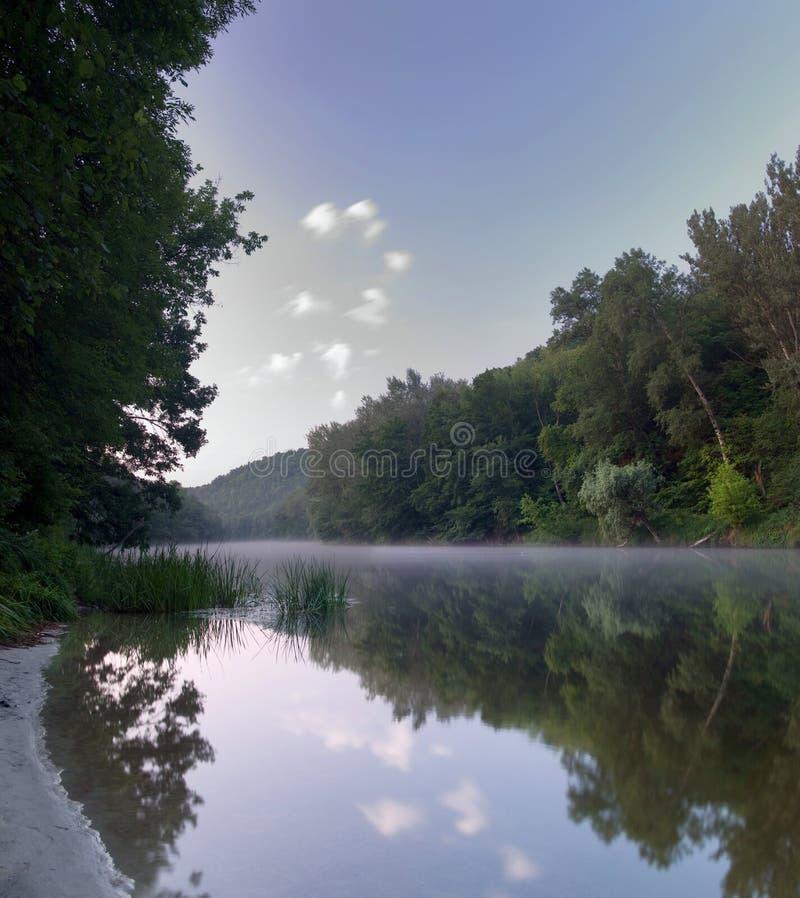 mgła nad rzeką fotografia royalty free