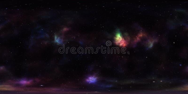 Mgławica i gwiazdy w kosmosie 360 stopni Bańczasta panorama zdjęcia stock
