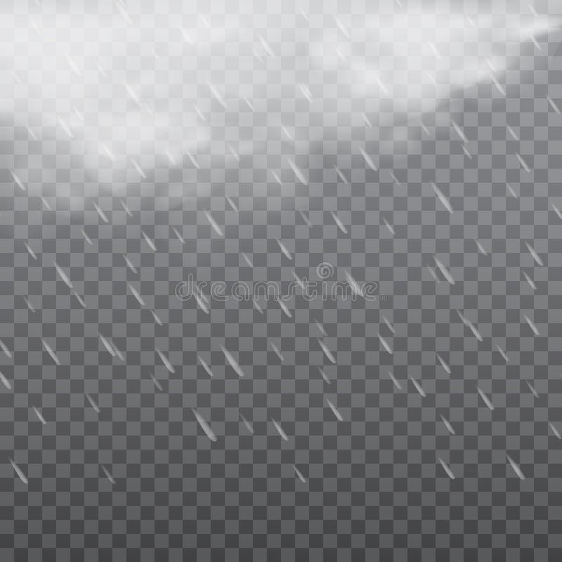 Mgłowa dżdżysta pogoda w przejrzystym tle wektor ilustracji