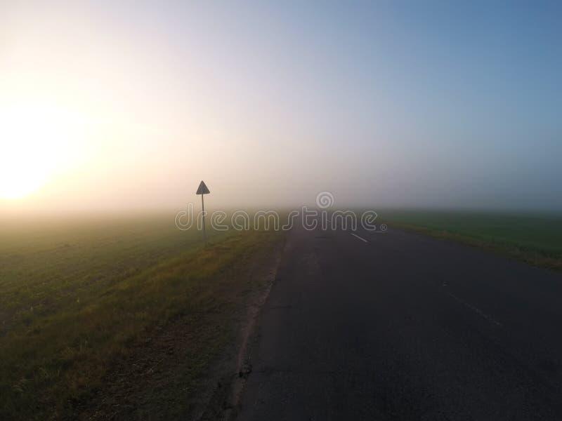 Mgłowa droga przy świtem, gęsta mgła, obrazy royalty free