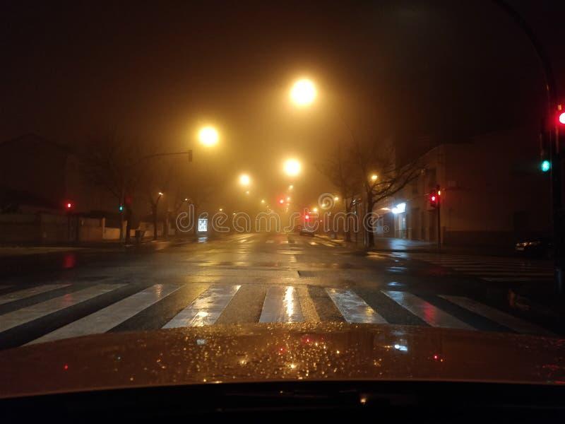 Mgłowa noc z zamazanymi latarniami ulicznymi fotografia stock