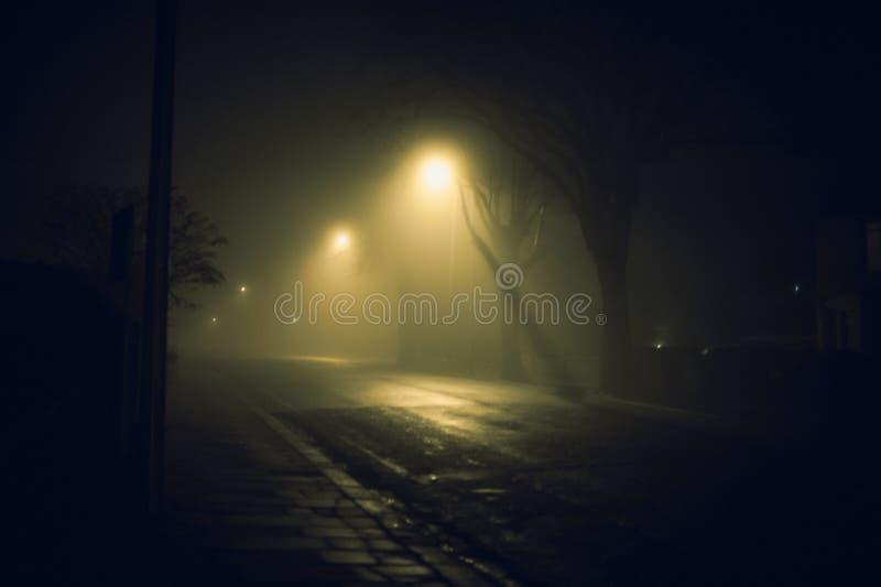 Mgłowa ulica przy nocą obraz stock