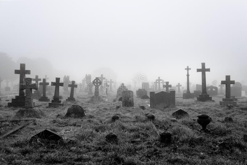 Mgłowy Cmentarniany tło zdjęcia stock