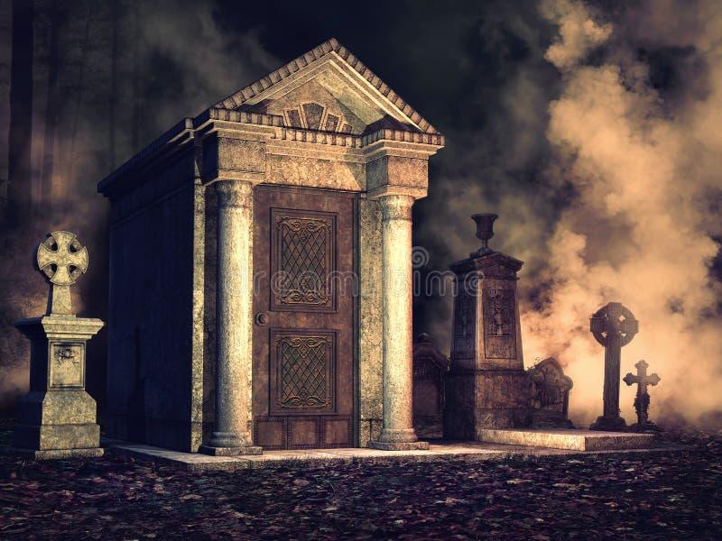 Mgłowy cmentarz przy nocą ilustracja wektor