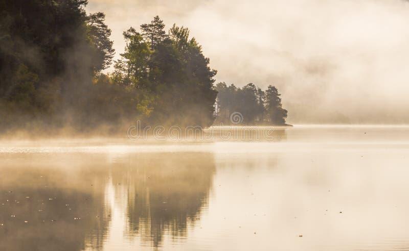 Mgłowy jesienny ranek jeziorem Naturalny wschodu słońca światło Trondheim teren w Norwegia fotografia stock