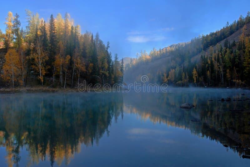 mgłowy jezioro zdjęcia royalty free