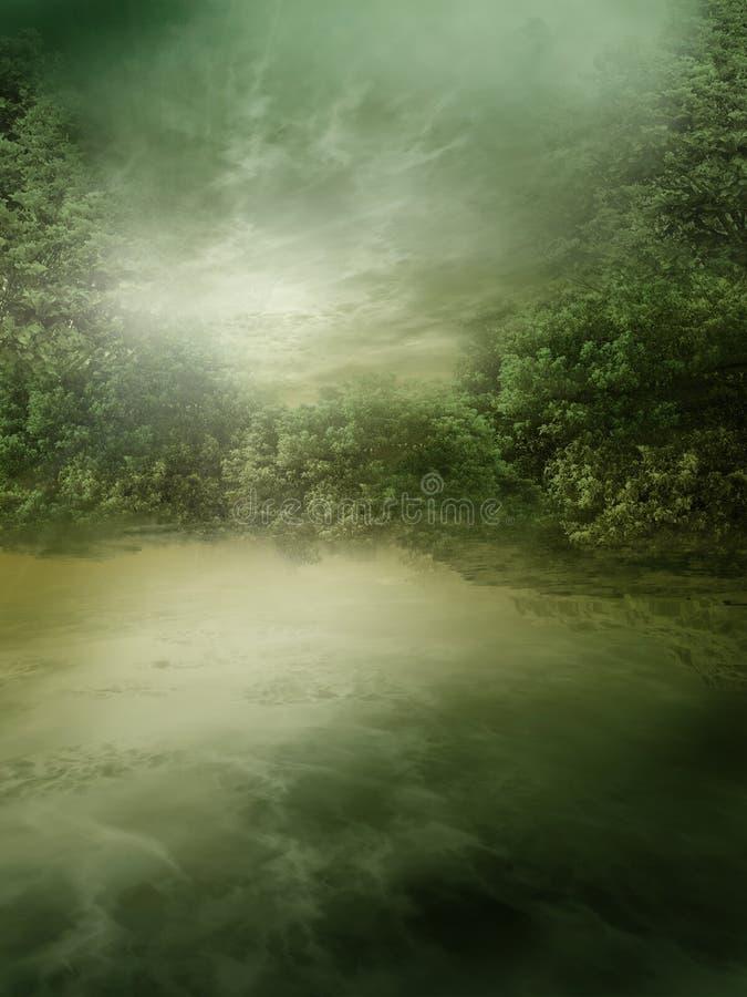 mgłowy jezioro ilustracji