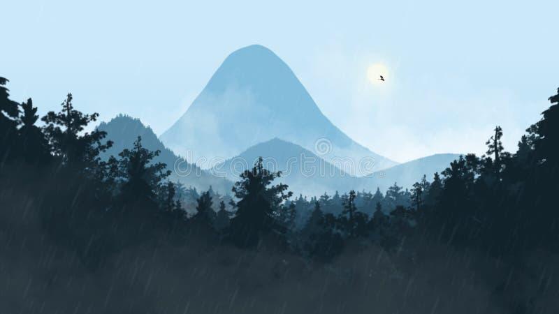 Mgłowy krajobraz z smokiem obraz stock