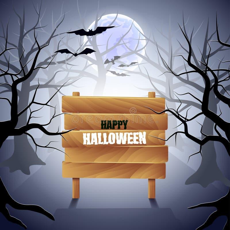 Mgłowy las z drewnianym szyldowym Halloweenowym tłem ilustracja wektor