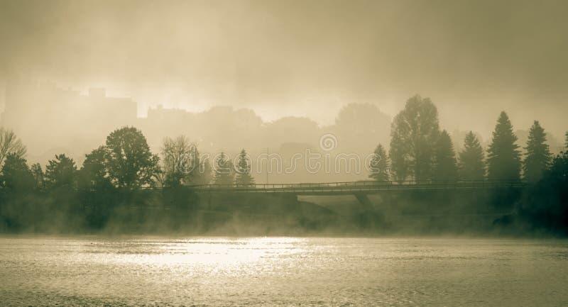 Mgłowy ranek na Sir John Macdonald Parkway także znać jako Ottawa rzeki Parkway fotografia royalty free