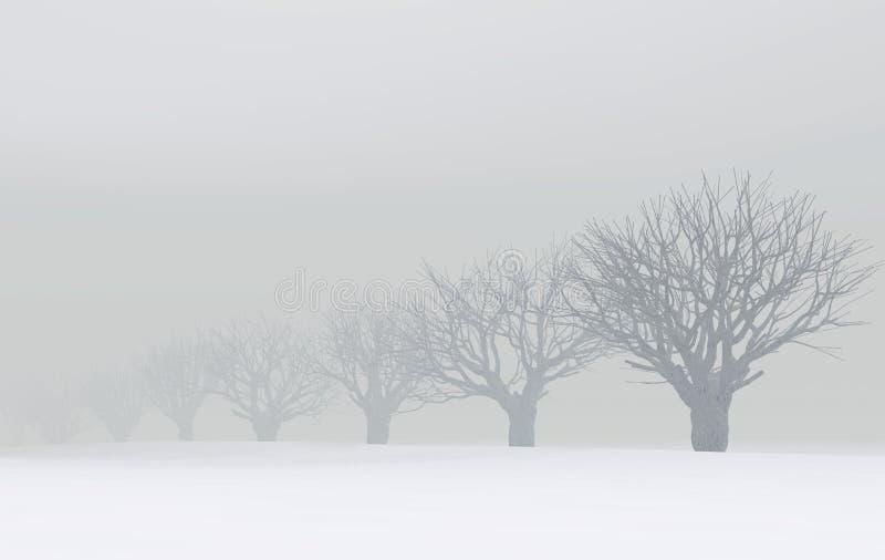 mgły drzew zima royalty ilustracja