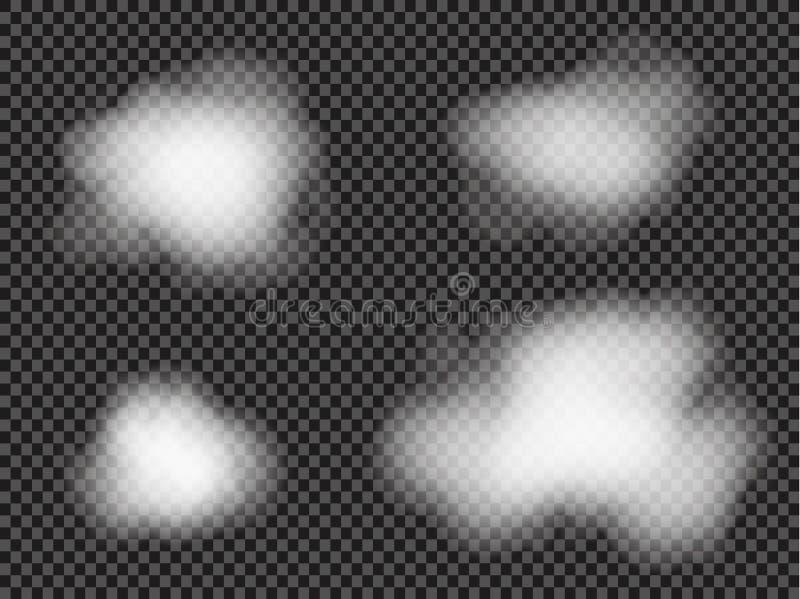 Mgły lub dymu odosobniony przejrzysty specjalny skutek Biały wektorowy zachmurzenia, mgły lub smogu tło, również zwrócić corel il ilustracja wektor