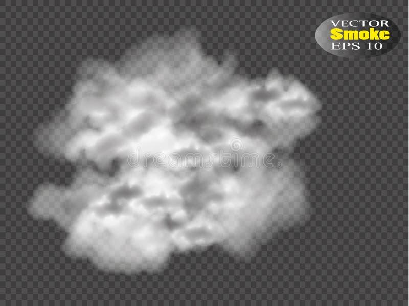 Mgły lub dymu odosobniony przejrzysty specjalny skutek Biały wektorowy zachmurzenia, mgły lub smogu tło, również zwrócić corel il royalty ilustracja