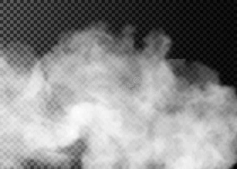 Mgły lub dymu przejrzysty specjalny skutek Biały zachmurzenia, mgły lub smogu tło, ilustracja wektor