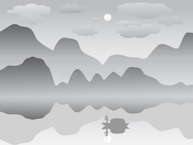 Mgły odbicia jeziora halnego krajobrazu chiński obraz ilustracja wektor