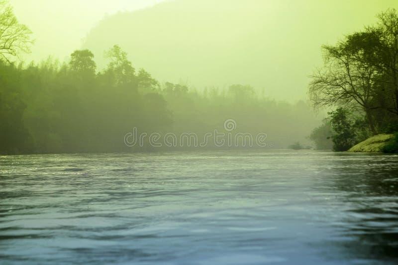Mgły tajemnicza rzeka i lasu krajobraz zdjęcia royalty free