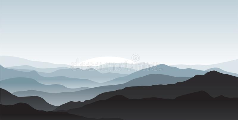 mgły zakrywać góry ilustracji