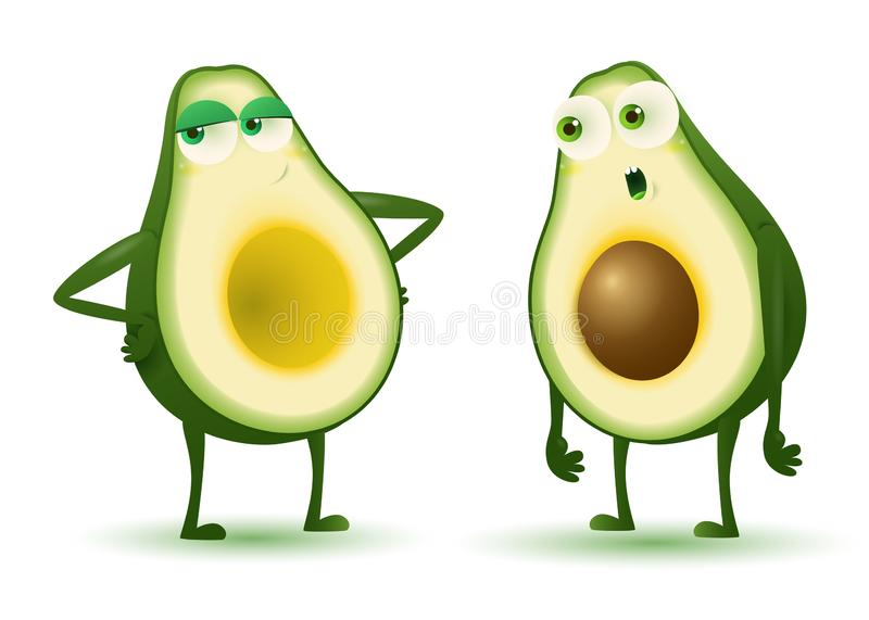 Avocado couple vector illustration