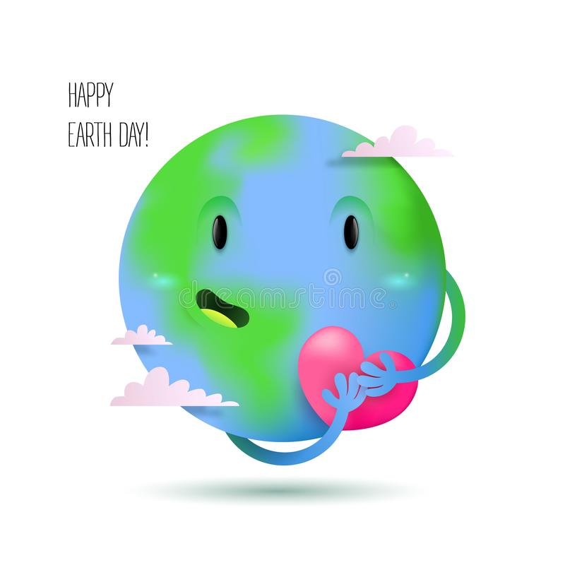 Happy earth day card with a cute earth planet. Happy smiling cute earth character holding a pink heart with clouds and greeting for earth day card or banner on stock illustration