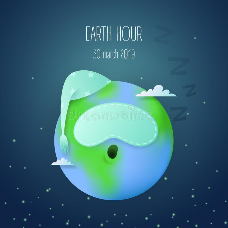 Earth hour card with cute sleeping earth planet character royalty free illustration