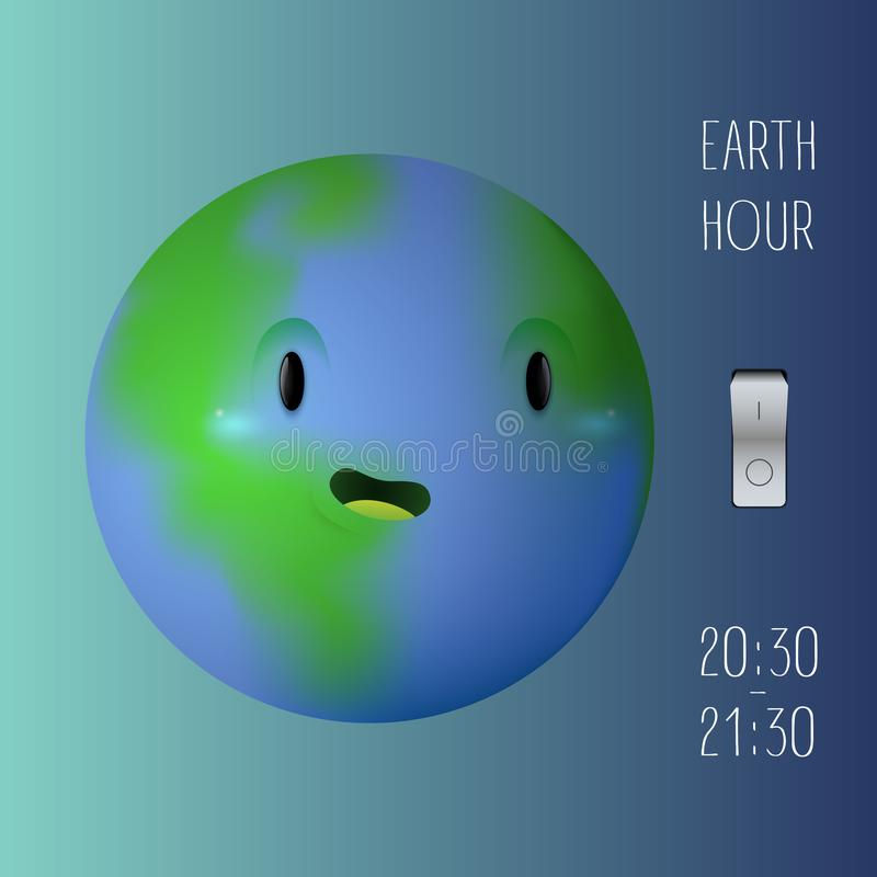 Earth hour banner with a cute eart planet and switcher vector illustration