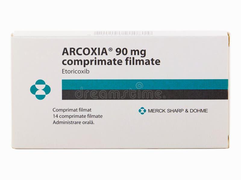 Mg Arcoxia 90, фильм покрыл таблетки диезом Merck стоковые фото