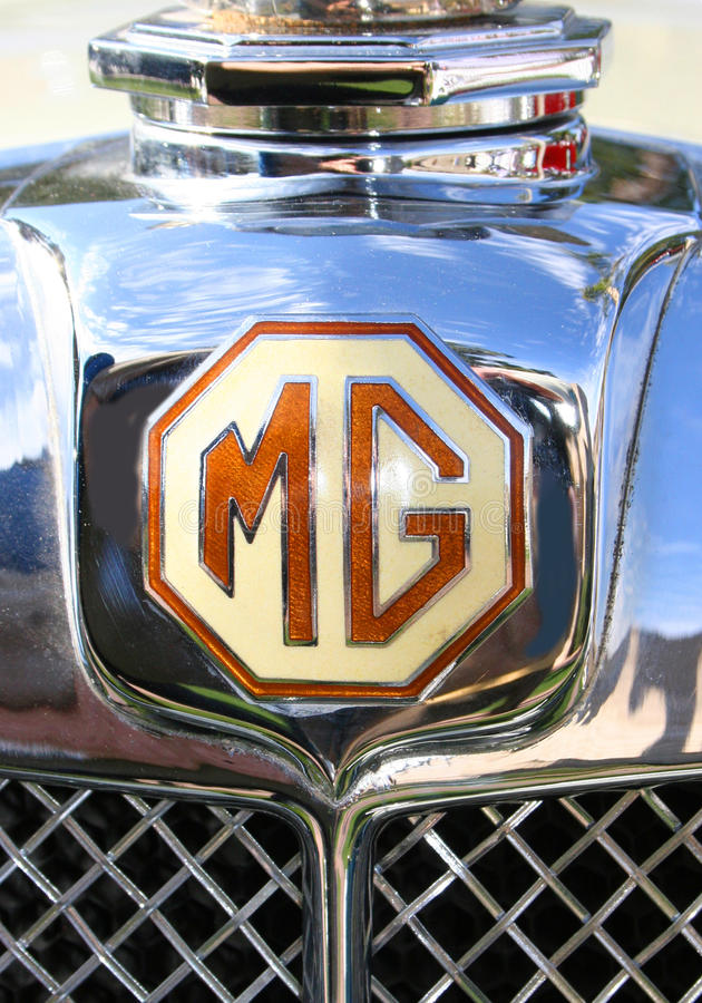 MG chromu Cowl Klasyczna odznaka fotografia stock