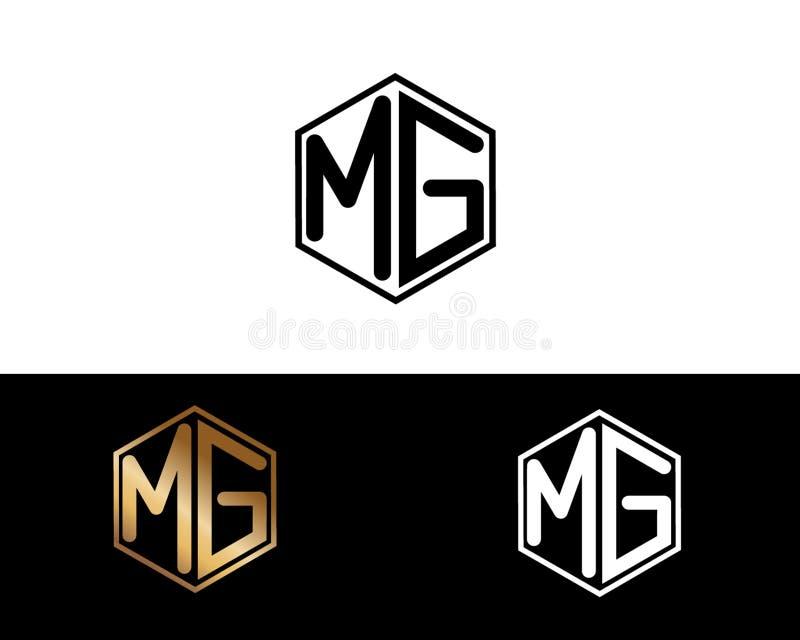 MG listy łączący z sześciokąta kształta logem ilustracja wektor