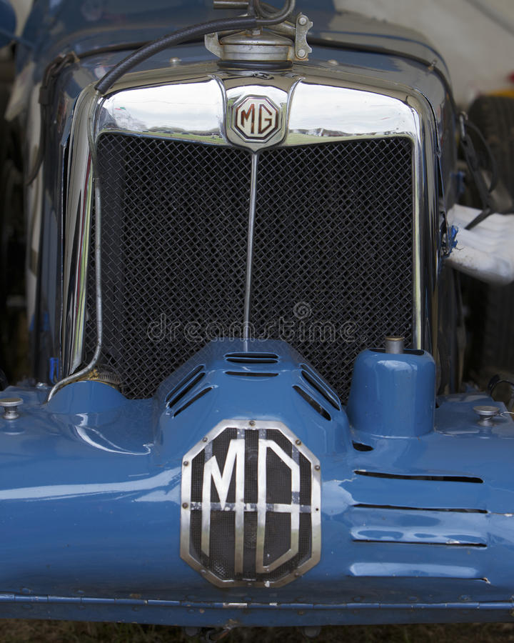 MG, logo on classic sport car. Logo of MG on classic sport car formula 1 stock image