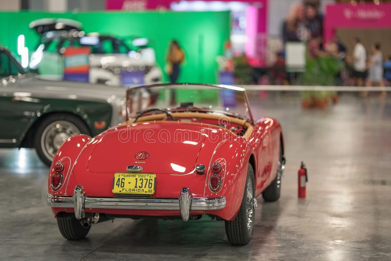 MG MGA 1600 red sports car made in England. USA royalty free stock photo